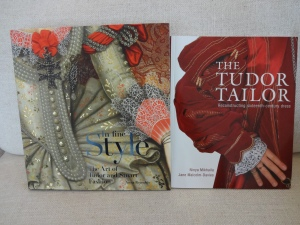 The two most AMAZING books from the exhibit:  In Fine Style: The Art of Tudor and Stuart Fashion by Anna Reynolds and The Tudor Tailor: Reconstructing Sixteenth Century Dress by Ninya Mikhaila and Jane Malcolm-Davies