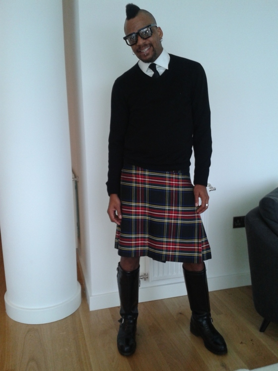 My Stewart Black Kilt during London Fashion Week