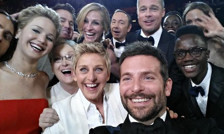 The most retweeted photo in Twitter history is packed full of stars!!! Jared Leto, Jennifer Lawrence, Meryl Streep, Julia Roberts, Kevin Spacey, Brad Pitt, Angelina Jolie, Bradley Cooper, Lupita Nyong'o and her brother!!!