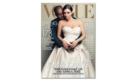 Kanye West & Kim Kardashian on the cover of April 2014 Vogue