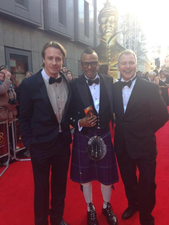 My flatmate, Paul, me, and my partner, Juha on the red carpet looking SMASHING!!!!