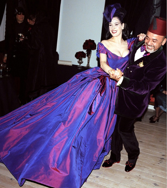 The wedding of Dita Von Teese and Marilyn Manson at Gurteen Castle in Ireland on December 3, 2005. The dress was by Vivienne Westwood and the shoes by Christian Louboutin, who she is dancing with in this shot.