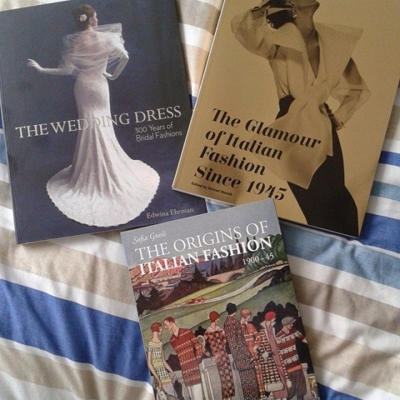 The books from both exhibits: The Wedding Dress: 300 Years of Bridal Fashions by Edwina Ehrman. The Glamour of Italian Fashion Since 1945 by Sonnet Stanfill. The Origins of Italian Fashion 1900- 1945 by Sofia Gnoli.