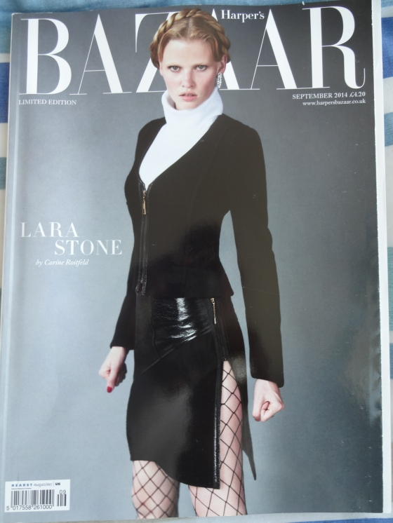 Lara Stone (one of my favorite models and the wife of comedian, David Walliams) on the cover of the September 2014 issue of Harper's Bazaar.