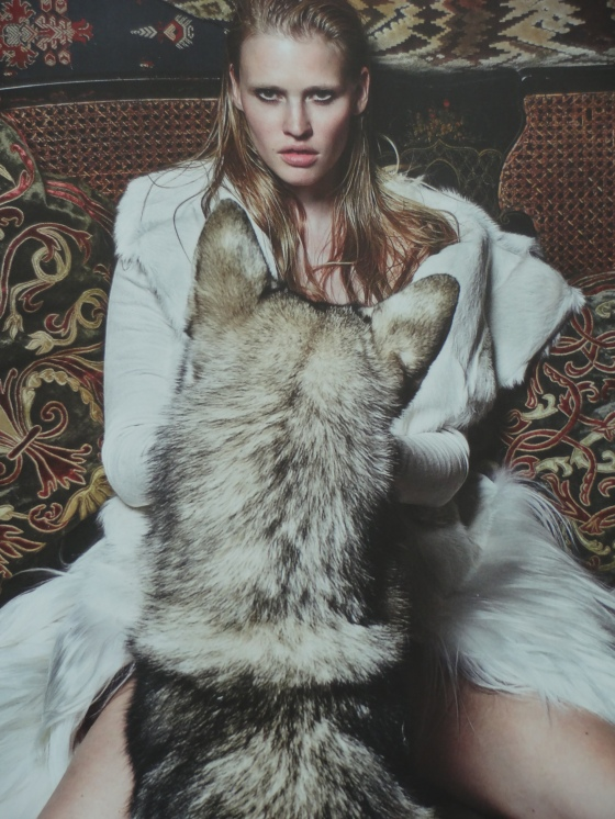 The Wolf In Her editorial starring Lara Stone and style by Kate Moss in the September 2014 issue of British Vogue Magazine