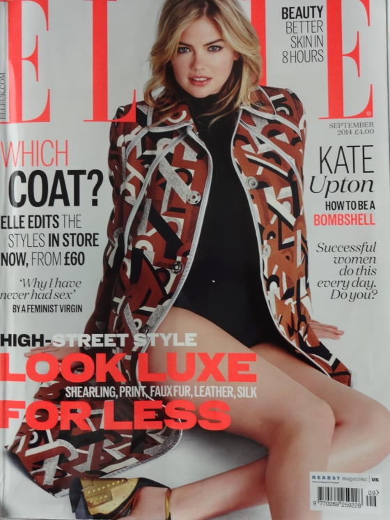 The September 2014 Issue of British Elle Magazine with  Kate Upton on the cover.