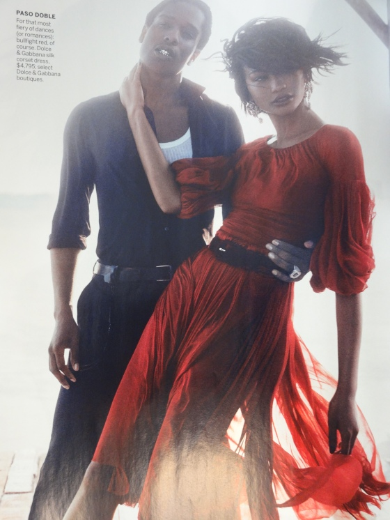 """The Dance Of Seduction"" starring Chanel Iman and her boyfriend, A$AP Rocky in the September 2014 issue of American Vogue."