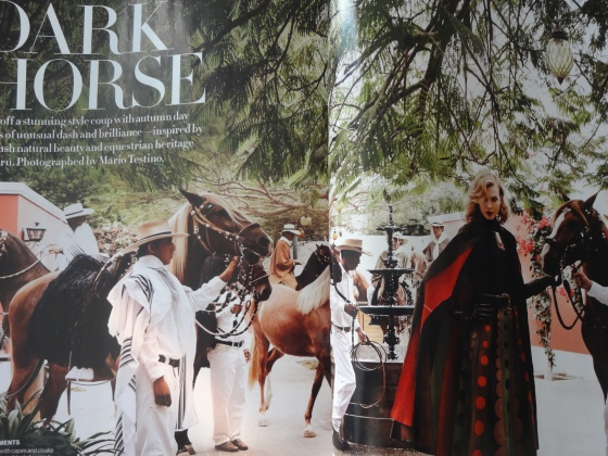 "The ""Dark Horse"" editorial with Karlie Kloss, shot by the amazing, legendary photographer and pride and joy of Peru, Mario Testino."