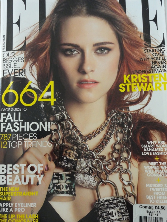 Kristen Stewart on the cover of the September 2014 issue of American Elle.