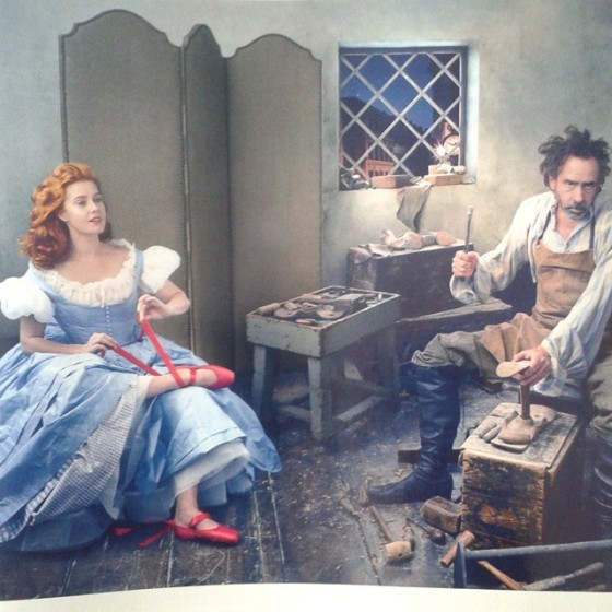 "Amy Adams and Tim Burton in a re-imagining of the Hans Christian Andersen story ""The Red Shoes"", styled by Grace Coddington and shot by Annie Leibovitz in the December 2014 issue of American Vogue."