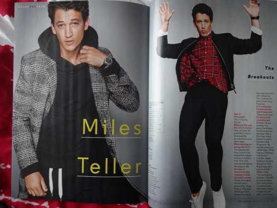 Miles Teller in the December 2014 issue of American GQ Magazine.