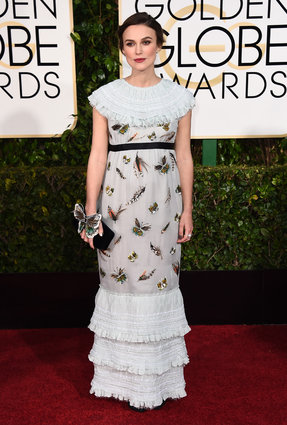 """Keira Knightley from """"The Imitation Game"""" in Chanel, arriving with her husband (from the band The Klaxons), at the Golden Globes 2015."""