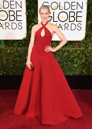 """Taylor Schilling from """"Orange Is The New Black"""" arriving at the Golden Globes 2015"""