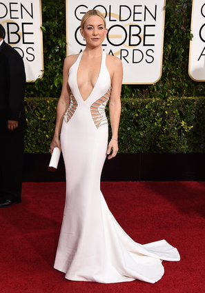 Kate Hudson arriving at the Golden Globes 2015.