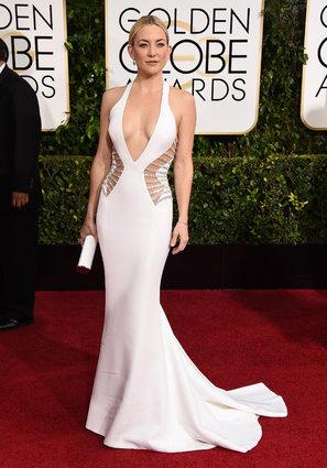 Kate Hudson arriving at the Golden Globes 2015.