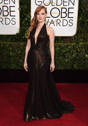 "Jessica Chastain from ""A Most Violent Year"" arriving at the Golden Globes 2015."