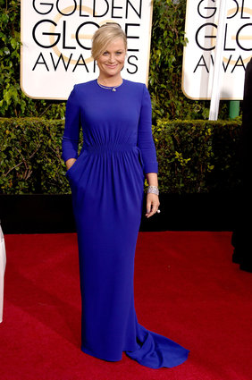 Amy Poehler arriving at the Golden Globes 2015.