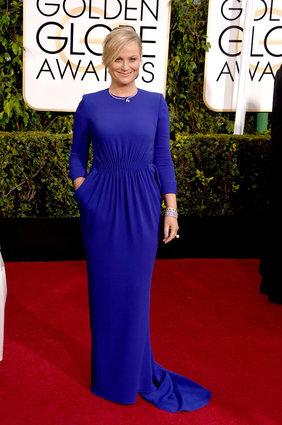 Amy Poehler arriving at the Golden Globes 2015.