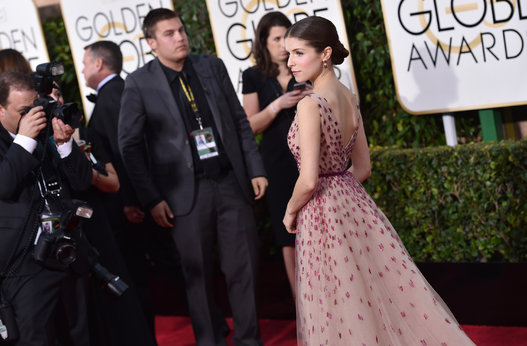 "Anna Kendrick from ""Into The Woods"" arriving at the Golden Globes 2015."