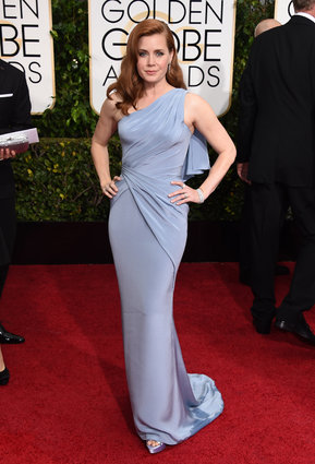 "Amy Adams from ""Big Eyes"" in Versace, arriving at the Golden Globes 2015."
