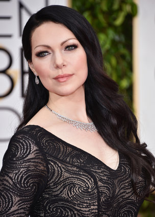 "Laura Prepon from ""Orange Is The New Black"" arriving at the Golden Globes 2015."