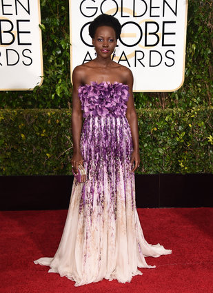 Lupita Nyong'o arriving at The Golden Globes 2015