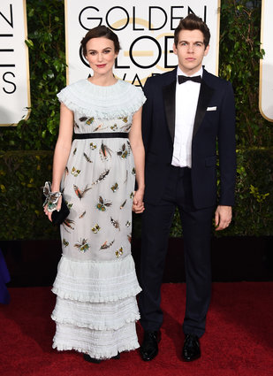 "Keira Knightley from ""The Imitation Game"" in Chanel, arriving with her husband (from the band The Klaxons), at the Golden Globes 2015."