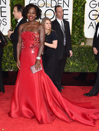 "Viola Davis from ""How To Get Away With Murder"" arriving at the Golden Globes 2015."