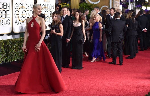 "Taylor Schilling from ""Orange Is The New Black"" arriving at the Golden Globes 2015"